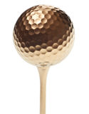 Gold golf ball Royalty Free Stock Images