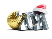 Free Gold Golf Ball 2021 New Year Santa Hat On A White Background 3D Illustration, 3D Rendering Royalty Free Stock Photos - 204111688