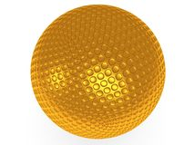 Gold golf ball isolated on white. 3d render. Royalty Free Stock Image