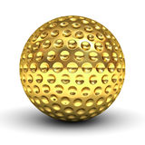 Gold golf ball over white background with reflection Royalty Free Stock Photos