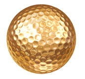 Gold Golf Ball on white. Clipping Path included Stock Image
