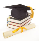 Gold Grad Cap Diploma Books 1 Royalty Free Stock Photo