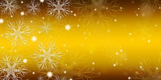 Gold gradient background with snowflakes. Gold gradient background with snowflakes banner stock illustration