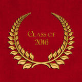 Gold 2016 graduation laurel on red Royalty Free Stock Image