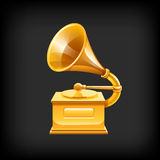 Gold gramophone. Royalty Free Stock Images