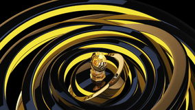 Gold Gramophone. Computer generated Gold Gramophone animated presentation on animated scene background. Full HD stock footage