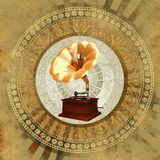 Gold gramophone over vintage background Royalty Free Stock Photography