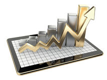 Gold graph and chart on tablet pc - Business statistic concept. 3d image isolated on a white background Royalty Free Stock Photo
