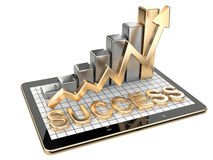 Gold graph and chart on tablet pc - Success concept. Royalty Free Stock Photo