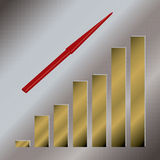 Gold graph up. A silver illustration background with a golden graph Stock Photos
