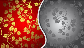 Gold and gray floral background Royalty Free Stock Photography