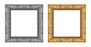 Gold and gray frame isolated on white background , clipping path Stock Photos