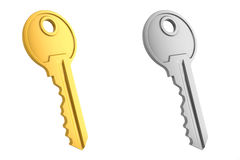 Gold and gray key Royalty Free Stock Photo