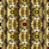 Gold greek 3d geometric seamless pattern. Vector floral baroque. Background. Vintage flowers, leaves, circles, mandalas, squares, frames. Gold ornate greek key royalty free illustration
