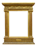 Old Gold Greek Frame. Antique gold picture frame incorporating elements of Greek architecture isolated on white background Royalty Free Stock Images