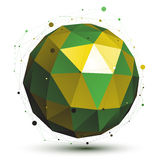 Gold and green abstract 3D vector network object, art symmetric. Spherical shiny figure Royalty Free Stock Image