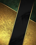 Gold and green background with black ribbon. Element for design. Template for design. copy space for ad brochure or announcement i Stock Image