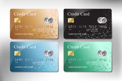 Realistic gold, green, blue and black color credit card vector design royalty free illustration