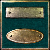 Gold green box plate ellipse stock photos