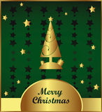 Gold and green christmas card. Vector Gold and green christmas card with new year tree and stars ornament design royalty free illustration