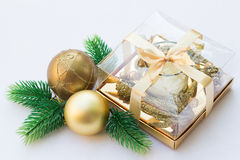 Gold and Green Christmas Decoration. Isolated on White Stock Photography