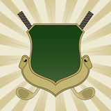 Gold and Green Golf Shield. With Golf Clubs Royalty Free Stock Photo