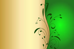 Gold and green invitation card Stock Photography