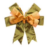 Gold and green ribbon bow for gift box Stock Images