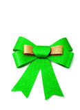 Gold and green ribbon isolated on white, clipping path. Stock Images