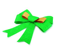 Gold and green ribbon isolated on white, clipping path. Royalty Free Stock Image