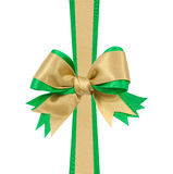 Gold and Green satin gift bow ribbon Stock Photography