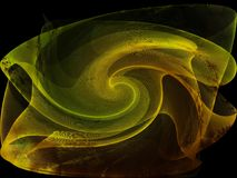 Gold Green Silk Swirl on Black Royalty Free Stock Photo