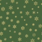 Gold and green snowflakes seamless Christmas pattern. EPS 10 royalty free illustration