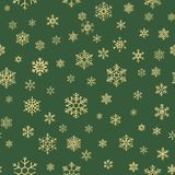 Gold and green snowflakes seamless Christmas pattern. EPS 10 stock illustration