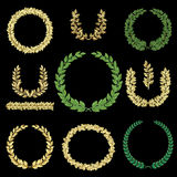 Gold and green wreaths set Royalty Free Stock Photo