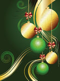 Gold and Green Xmas Balls. Decorative gold and green Christmas glass balls, holiday ornaments Royalty Free Stock Image