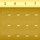 Gold greeting vector template of 2017 calendar. Stock vector Stock Image