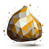 Gold and grey 3D vector abstract design object Royalty Free Stock Images