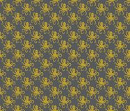 Gold on grey simple octopus pattern seamless repeat background. Two colour simple octopus pattern seamless repeat background. Could be used for background Royalty Free Stock Photography