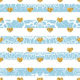 Gold grunge hearts craquelure stripes seamless pattern Stock Images