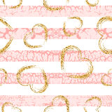 Gold grunge hearts craquelure stripes seamless pattern. Golden glitter confetti. White and pink background. Love Valentine day, wedding design card, wallpaper Stock Photo