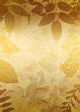 Gold Grunge Leaves Silhouette Royalty Free Stock Photography