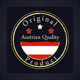 Gold grunge stamp with the text Austrian quality and original product. Stock Photos