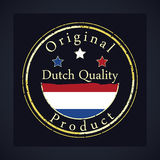 Gold grunge stamp with the text Dutch quality and original product. Label contains Dutch flag stock illustration