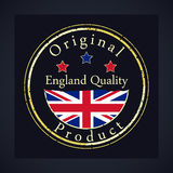 Gold grunge stamp with the text England quality and original product. Royalty Free Stock Photography