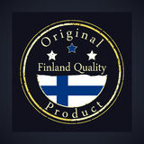 Gold grunge stamp with the text Finland quality and original product. Label contains Finland flag Stock Photography