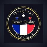 Gold grunge stamp with the text French quality and original product. stock illustration