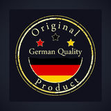 Gold grunge stamp with the text German quality and original product. royalty free illustration