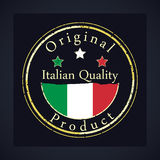 Gold grunge stamp with the text Italian quality and original product. Label contains Italian flag. Italy Stock Photos