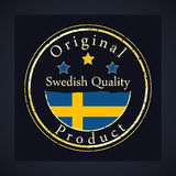 Gold grunge stamp with the text Swedish quality and original product. Label contains Swedish flag Stock Photos